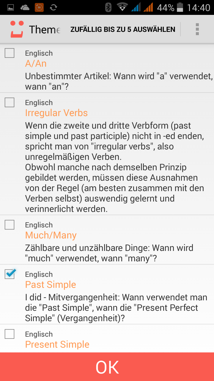 Screenshot der SPRACHLüCKE.com Android App